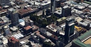 El centro de Temuco en glorioso y puntiagudo 3d.